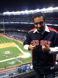 This is Mark celebrating a Red Sox win at their biggest competitor´s stadium, the Yankee Stadium in New York.