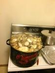 Ein New-England-Gericht: Unten im Tops find Würstchen, Zwiebeln und Kartoffeln. Der Dampf gibt den Muscheln einen super Geschmack.